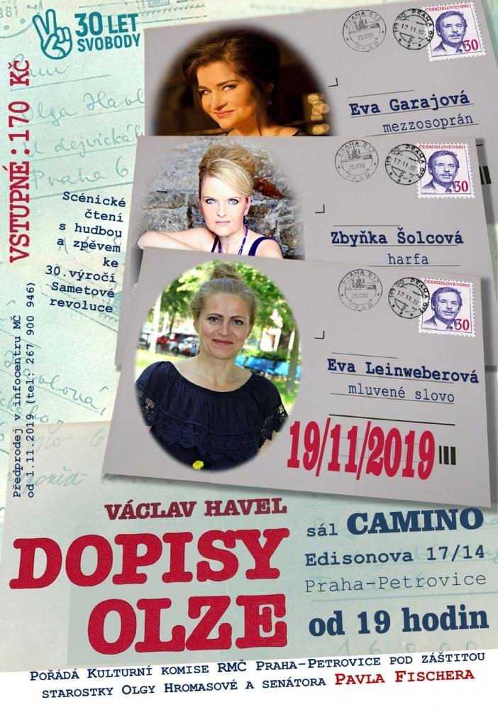 Václav Havel: Dopisy Olze - scénické čtení s hudbou a zpěvem